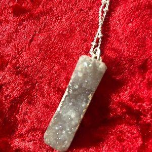 Druzy quartz long necklace 💙